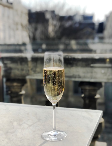 Sipping Champagne on the terrace!