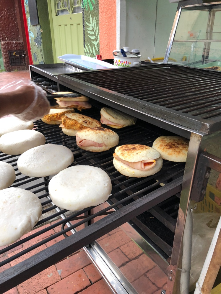 Arepas is a traditional Colombia lunch. Several filling are available